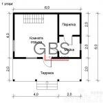 Схема 1 этажа .Дом дачный с сауной Березка