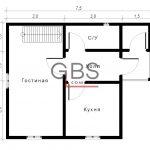 Схема 1 этажа дачного дома. Проект Смоленск